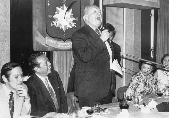The send-off for Mr Liao in 1977, with from left, Club president Bert Okuley, Liao Chien-ping, Richard Hughes in full swing and Mrs Li.