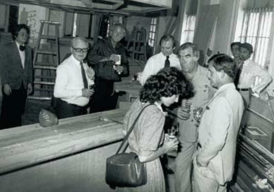 GM Heinz Grabner and Board members Sarah Monks, Mike Keats and Bill Seitz inspect progress on bar construction in 1982.
