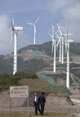 China is the world's largest producer of solar panels and installed over 5GW of new solar capacity domestically in the first quarter of this year. Chin leads the world in wind turbine capacity at 15GW of output. AFP