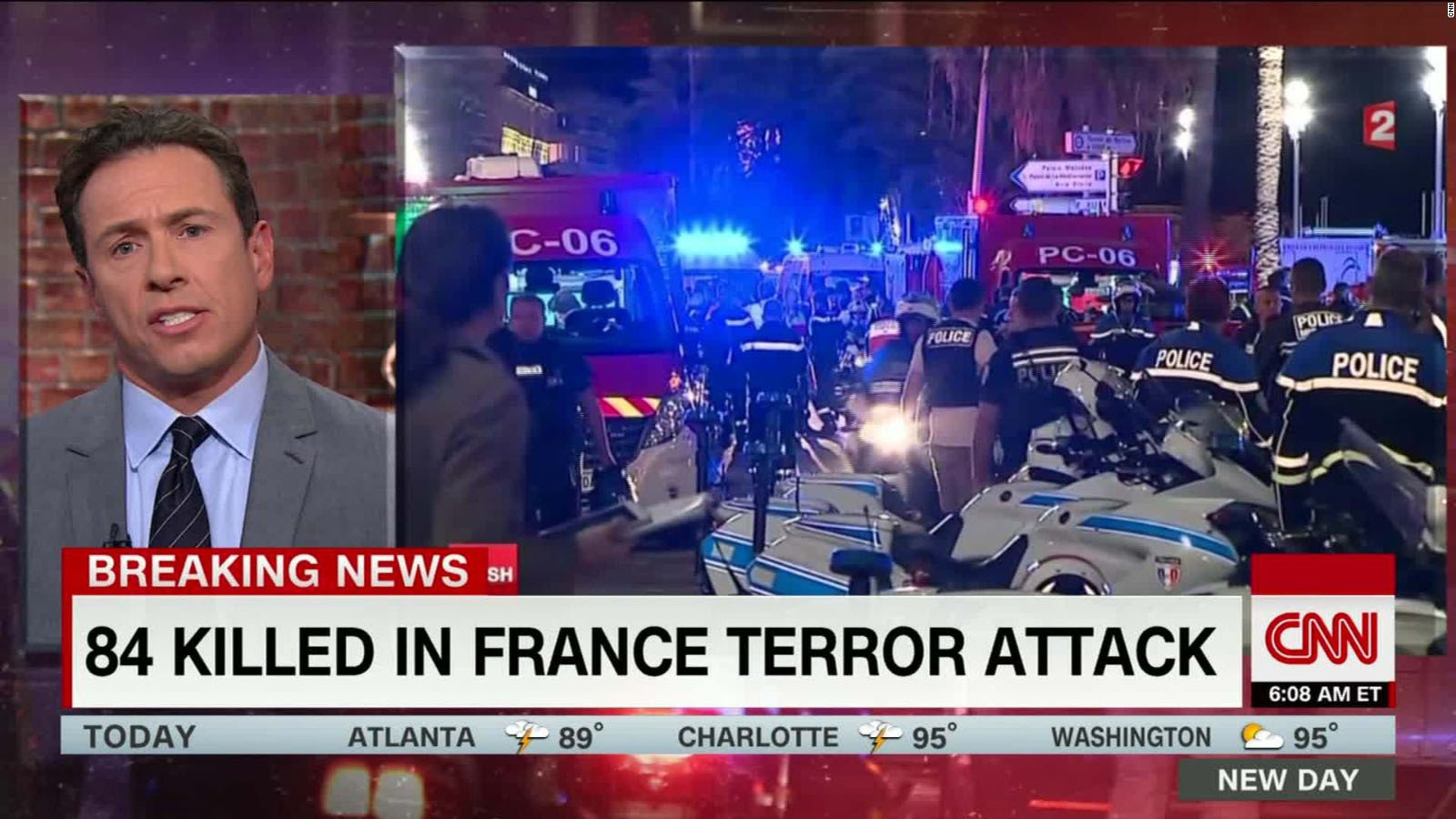 Following the Nice truck terror attack the French media watchdog, the CSA, issued an appeal for 'caution' and 'restraint' and the French police called on people to stop uploading images of victims as a sign of respect for them and their families. (CNN screen capture)