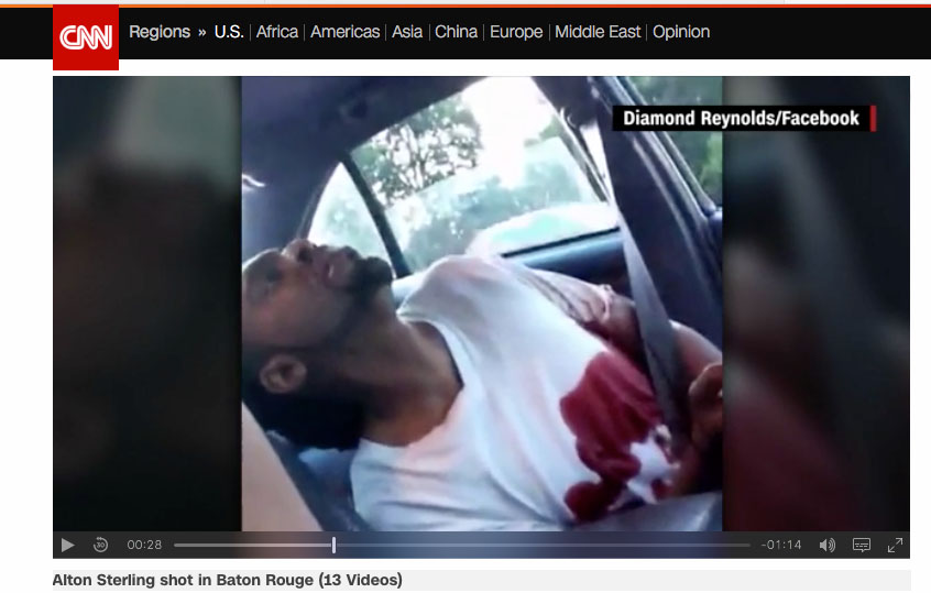 CNN coverage broadcasting the graphic video feed recorded and posted live to her Facebook account by Diamond Reynolds. (CNN screen capture)