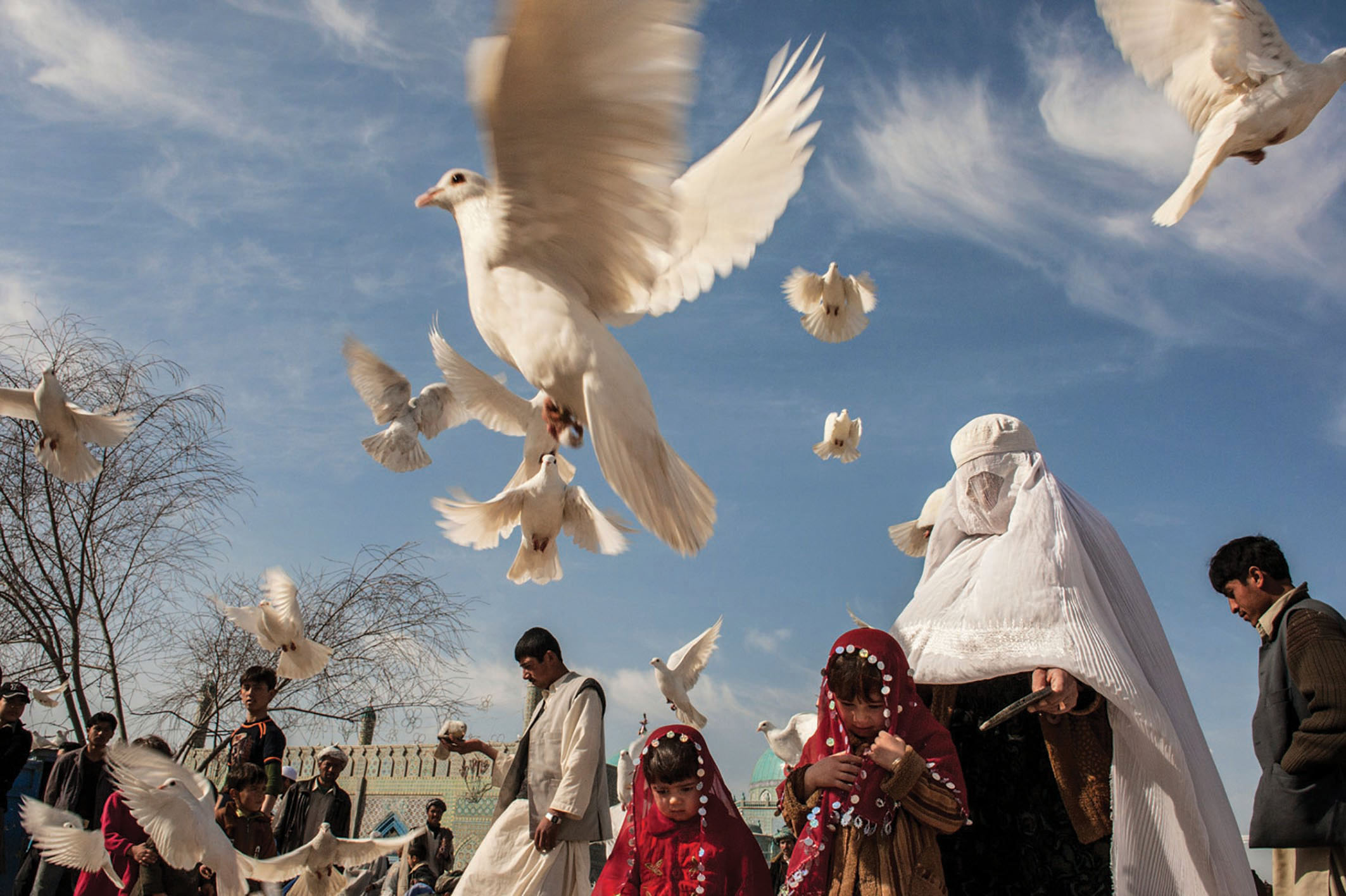 White pigeons take off as Afghans come to feed the birds at the Blue mosque in Mazar-E-Sharif. 25 November 2009. Photo: Paula Bronstein