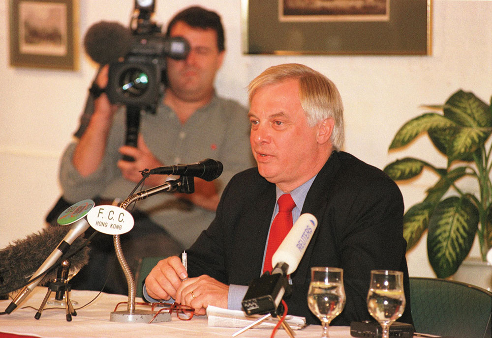 Former HK Governor Chris Patten at the Foreign Correspondents' Club in October 1998. Photo by Kees Metselaar