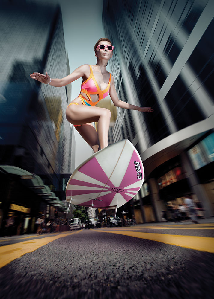 The Tatler image of Mira Yeh, a well-known Hong Kong socialite and accomplished wake-boarder, surfing down the streets of Hong Kong won a Gold award in the Asia Media Awards. Photo: Nic Gaunt