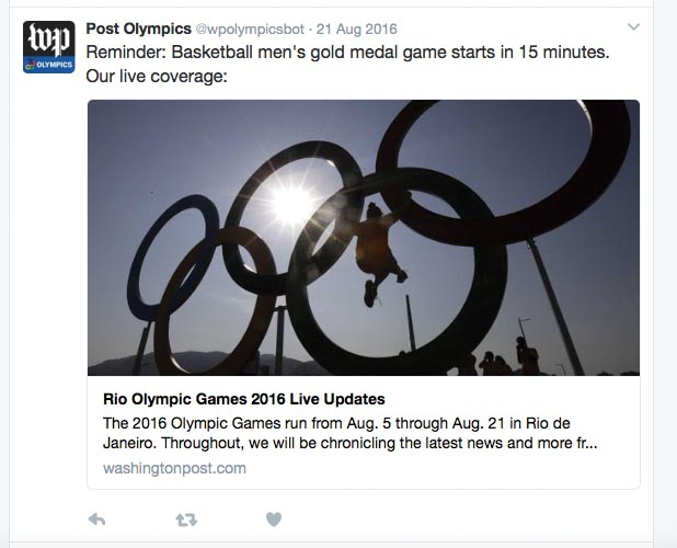 The Washington Post's automated Twitter feed covering the Rio Olympics in real time.