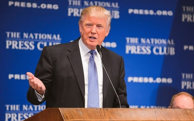Donald Trump at the National Press Club during his election campaign.