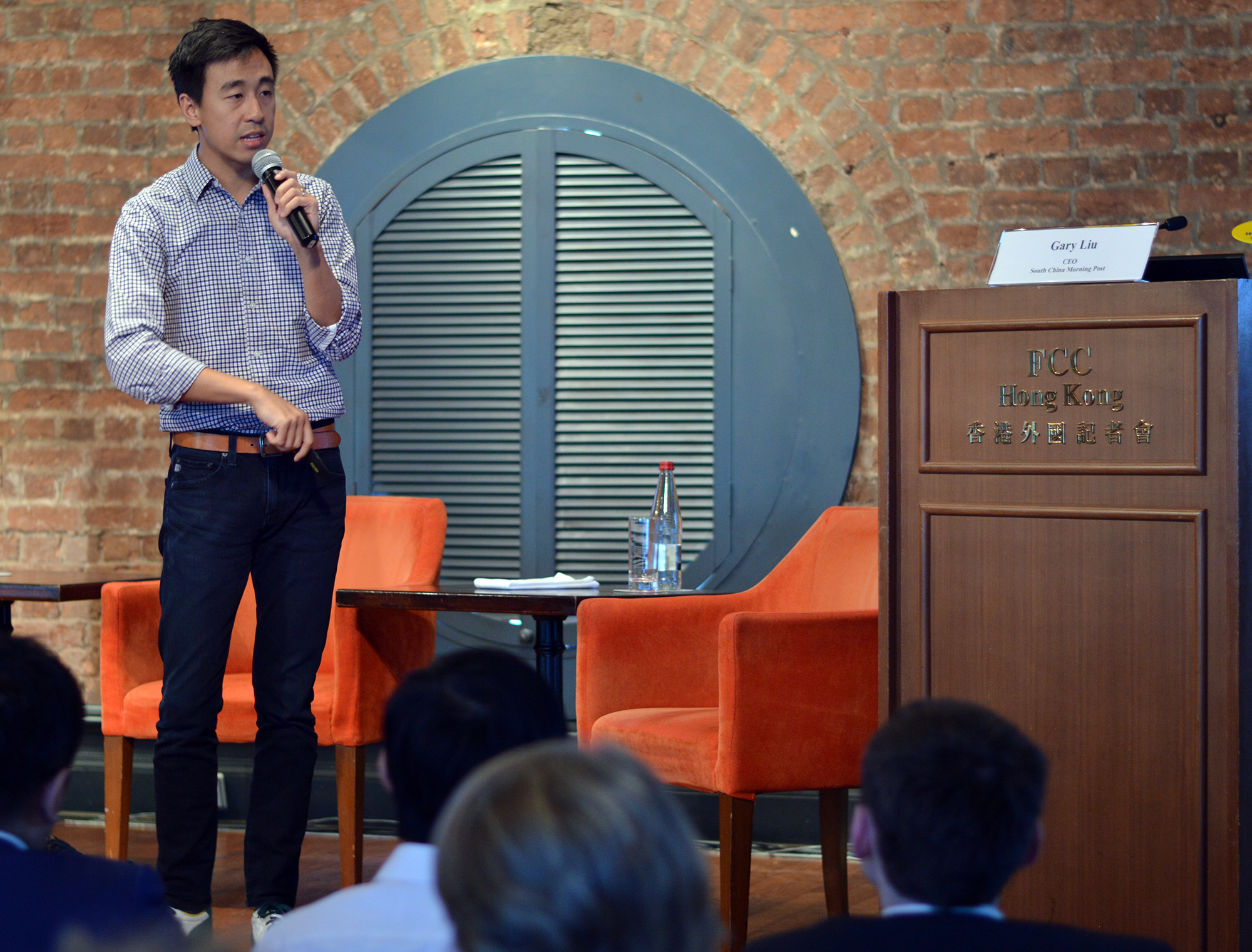 Gary Liu, CEO of South China Morning Post, gave conference guests a glimpse of the future: Photo: FCC/Sarah Graham