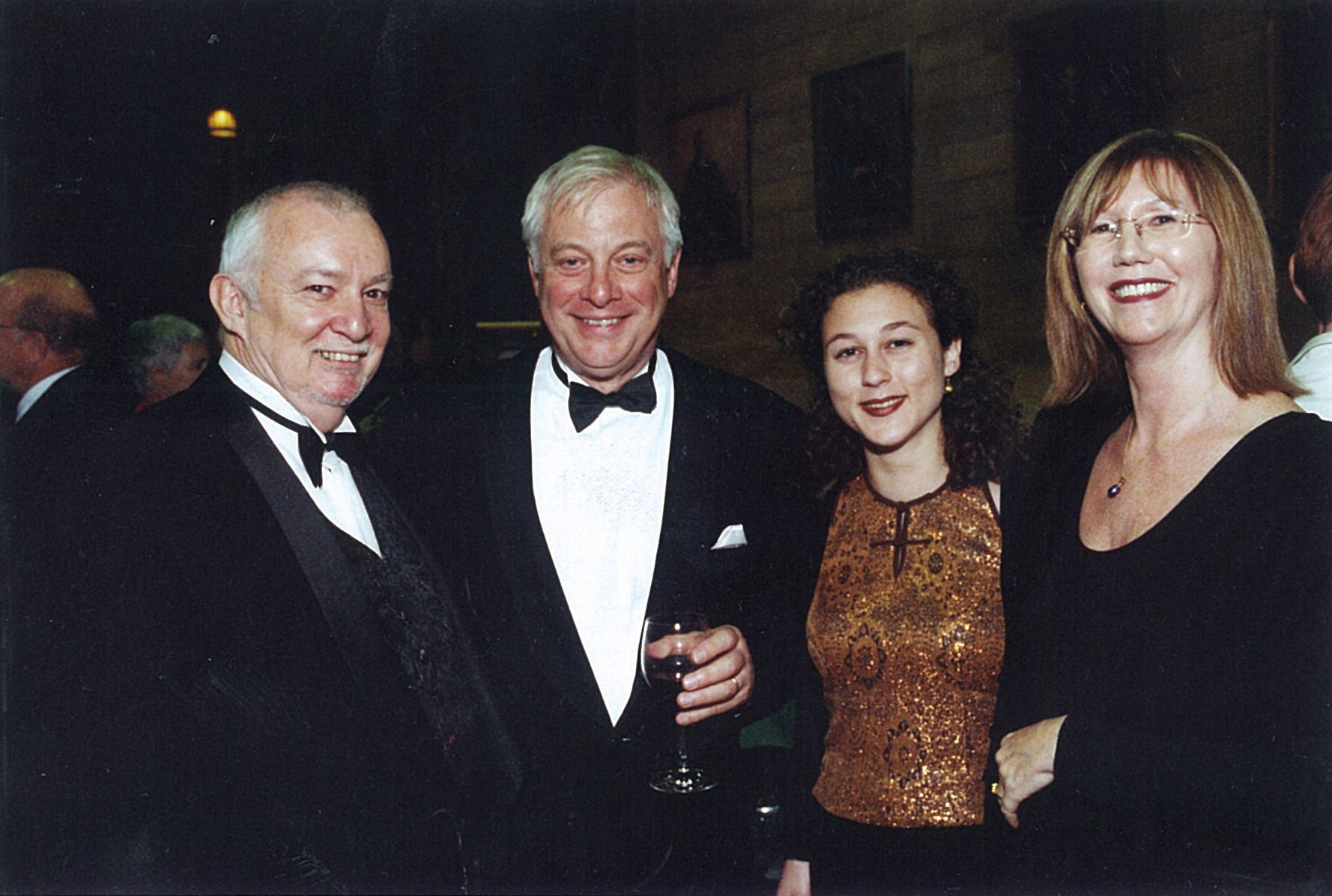 From left: Kerry McGlynn (Press Secretary to Chris Patten when Governor of Hong Kong), Chris Patten, Miss Lucy McGlynn (daughter of Jenny and Kerry) and Mrs Jenny McGlynn.