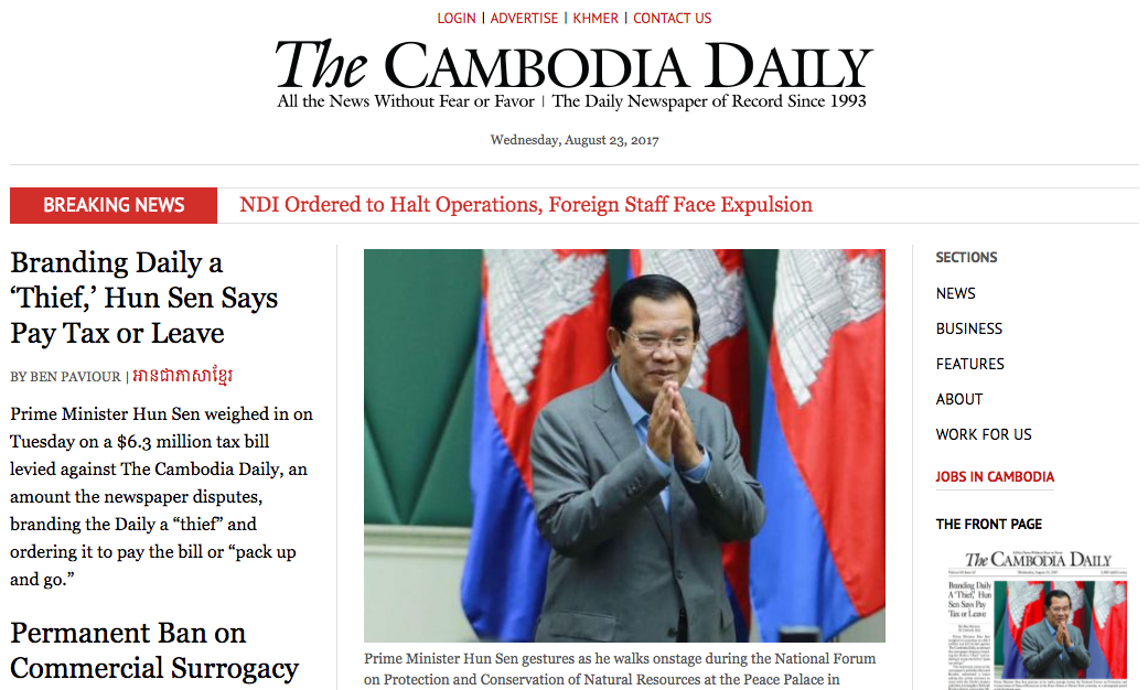 The Cambodia Daily has been hit with a tax bill that could force it to close.