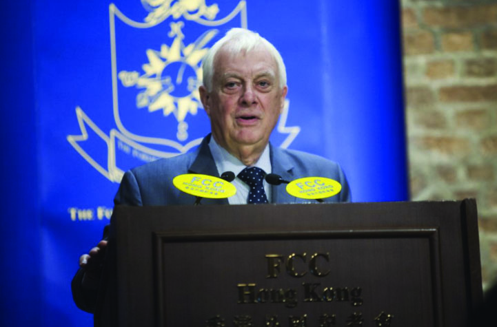 Chris Patten addresses the packed September 2017 club lunch.