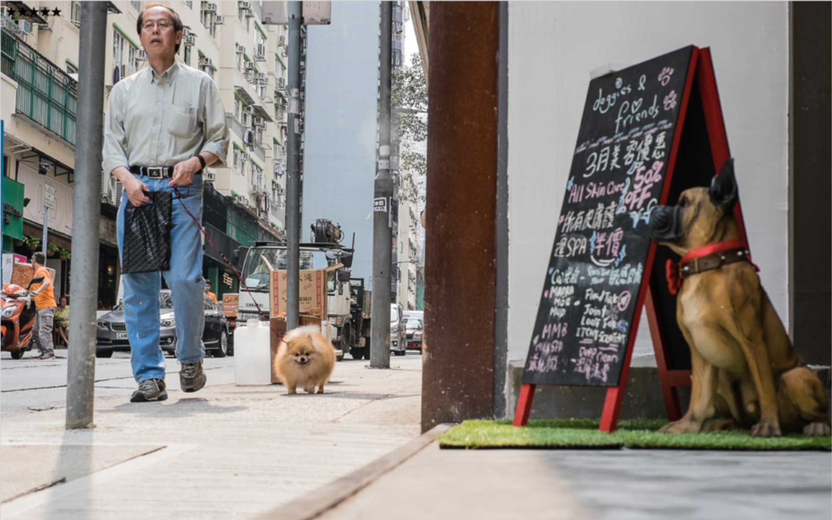 Loho Petra, University of Hong Kong: Male dog owner walks past a dog spa on High Street, Sai Ying Pun, 2016, with his Pomeranian.