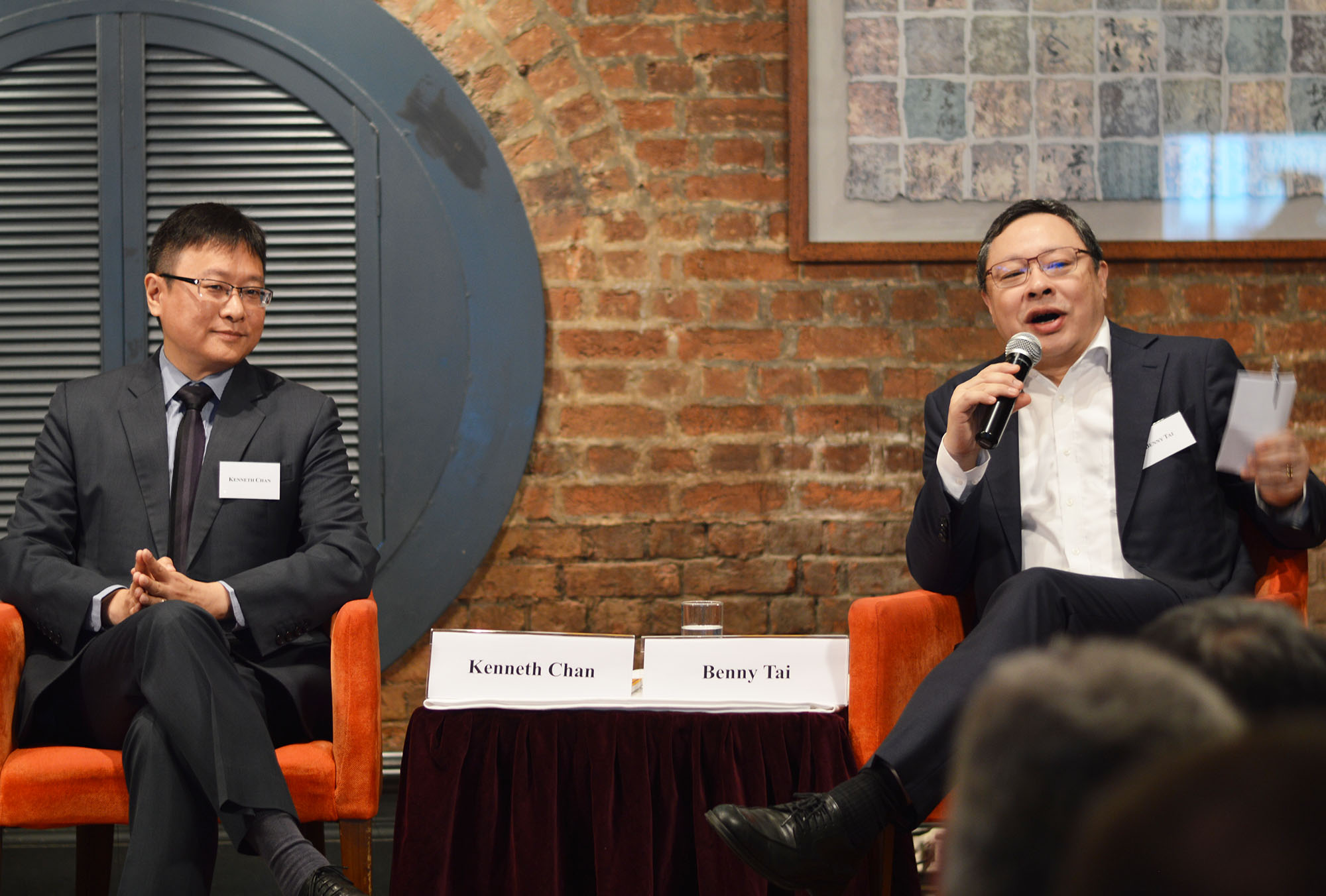 Kenneth Chan, left, and Benny Tai discuss the erosion of Hong Kong's freedoms. Photo: Sarah Graham/FCC