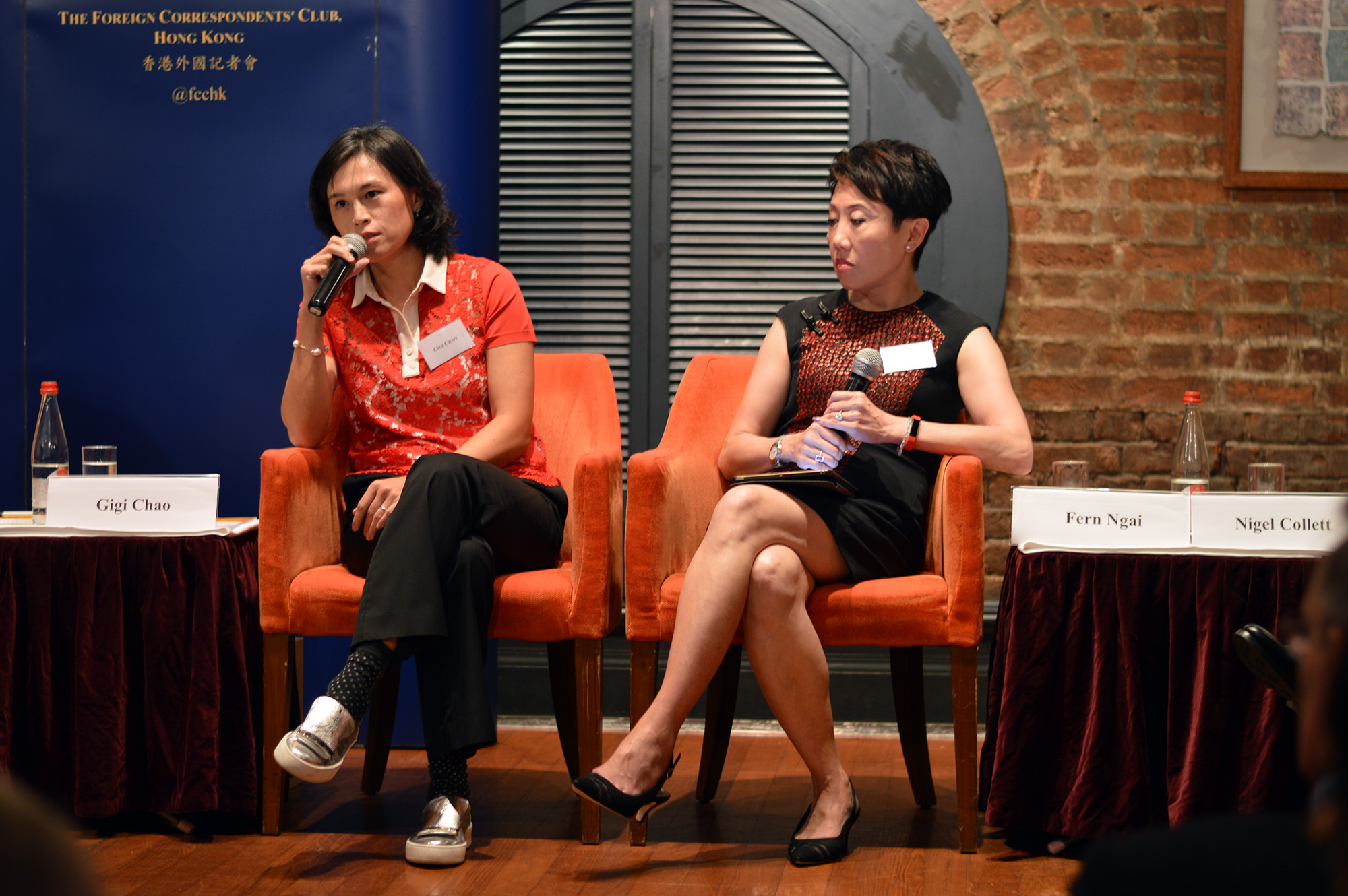 Gigi Chao, left, and Fern Ngai, right, spoke of Hong Kong's shortcomings on LGBT-related issues. Photo: Sarah Graham/FCC