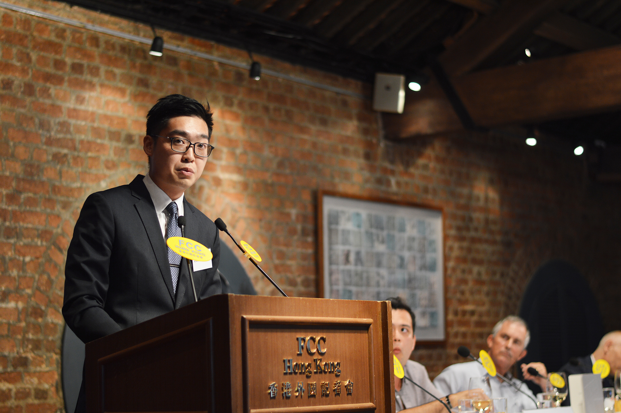 Andy Chan talked about hi party's push for independence for Hong Kong. Photo: Sarah Graham/FCC