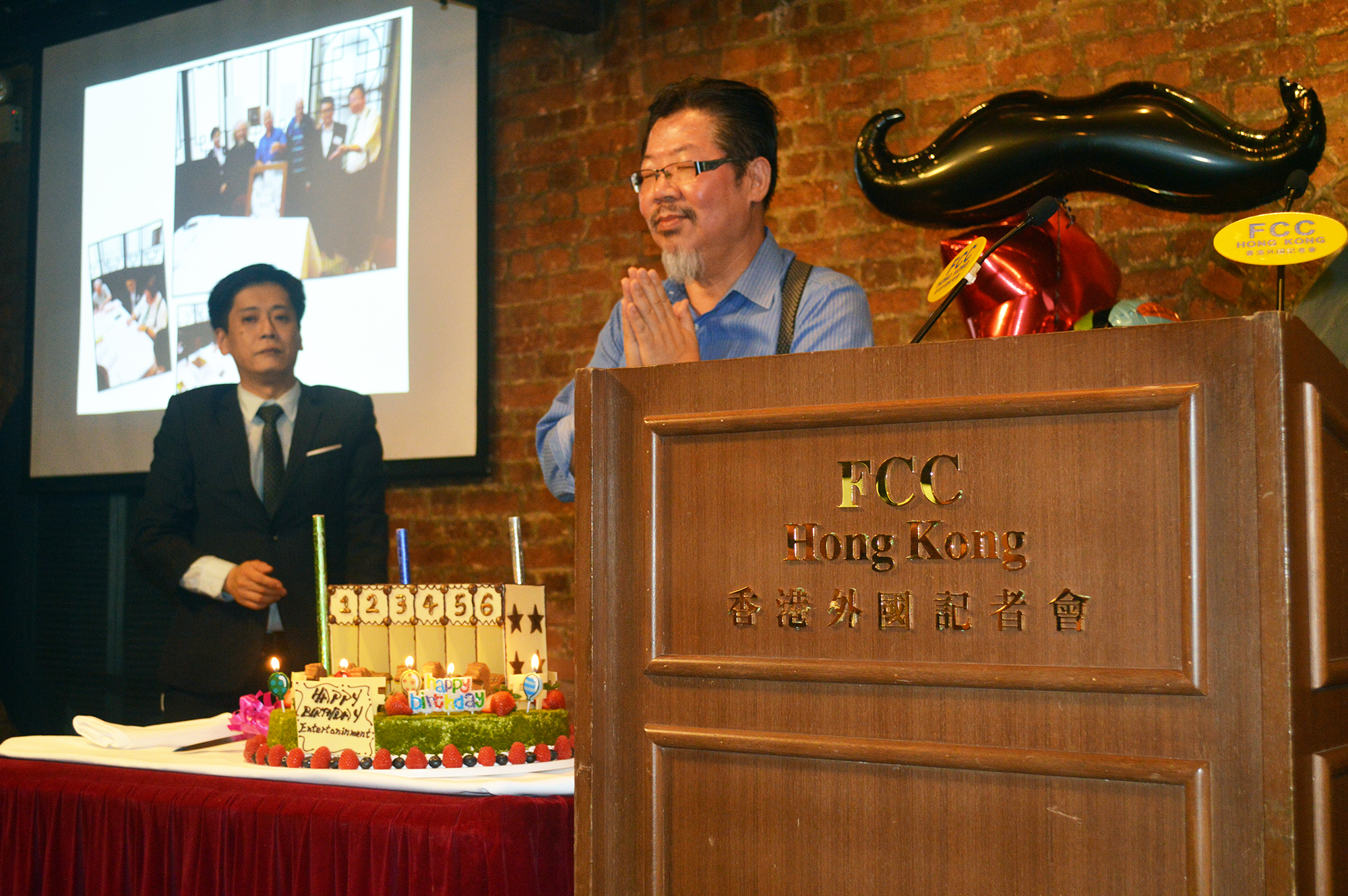 Gilbert Cheng with his birthday cake. Photo: Sarah Graham/FCC