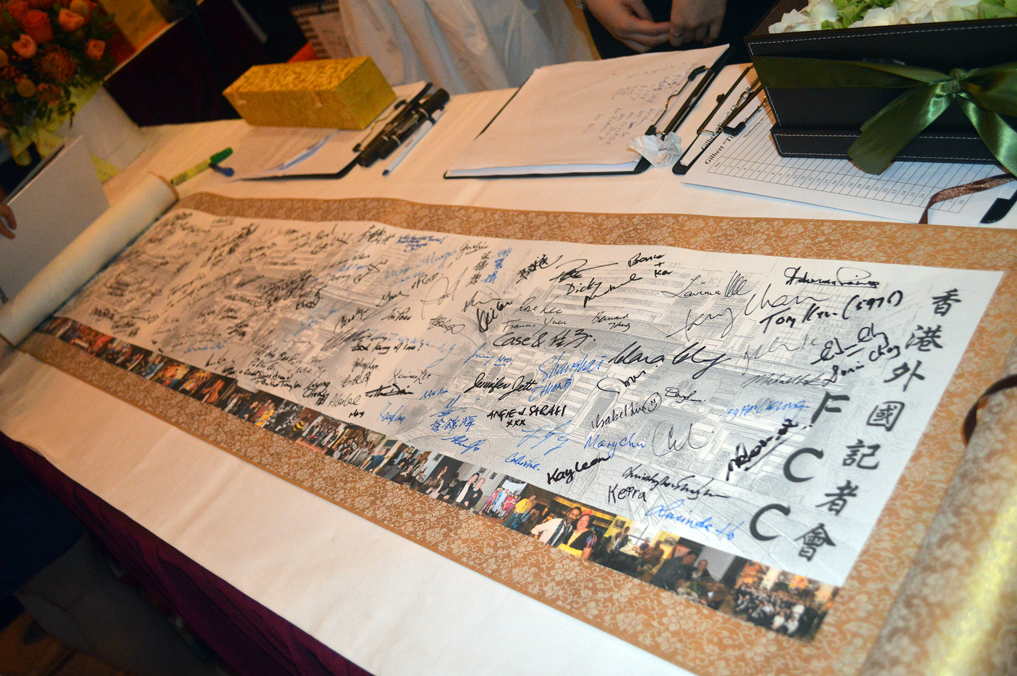 A signed scroll for Gilbert. Photo: Sarah Graham/FCC