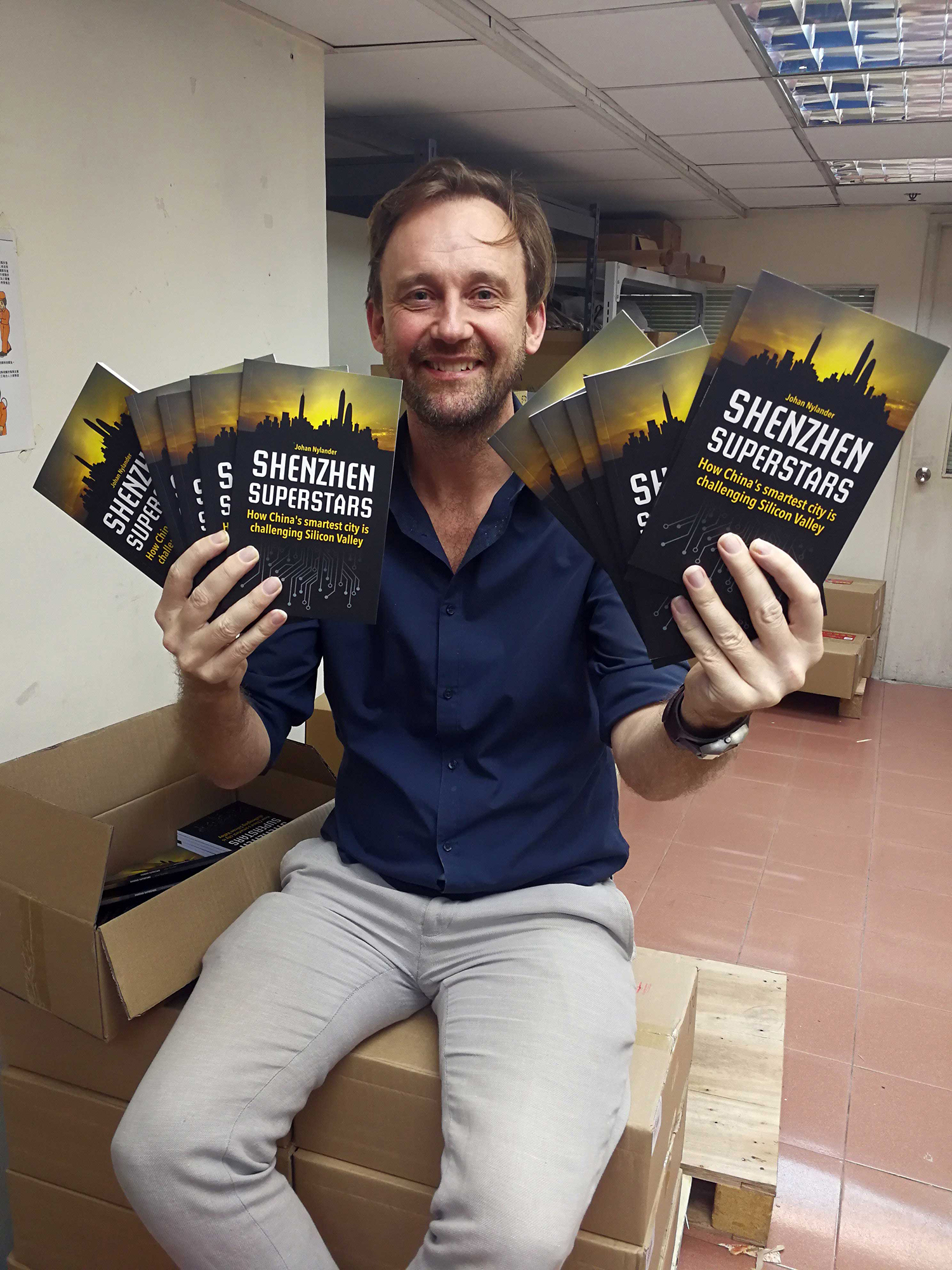 Johan Nylander with his book, Shenzhen Superstars – How China's smartest city is challenging Silicon Valley
