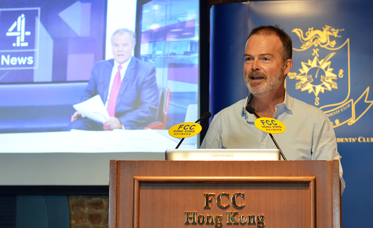 Jonathan Miller of Channel 4 News gave insights into President Rodrigo Duterte at the FCC. Photo: Sarah Graham/FCC