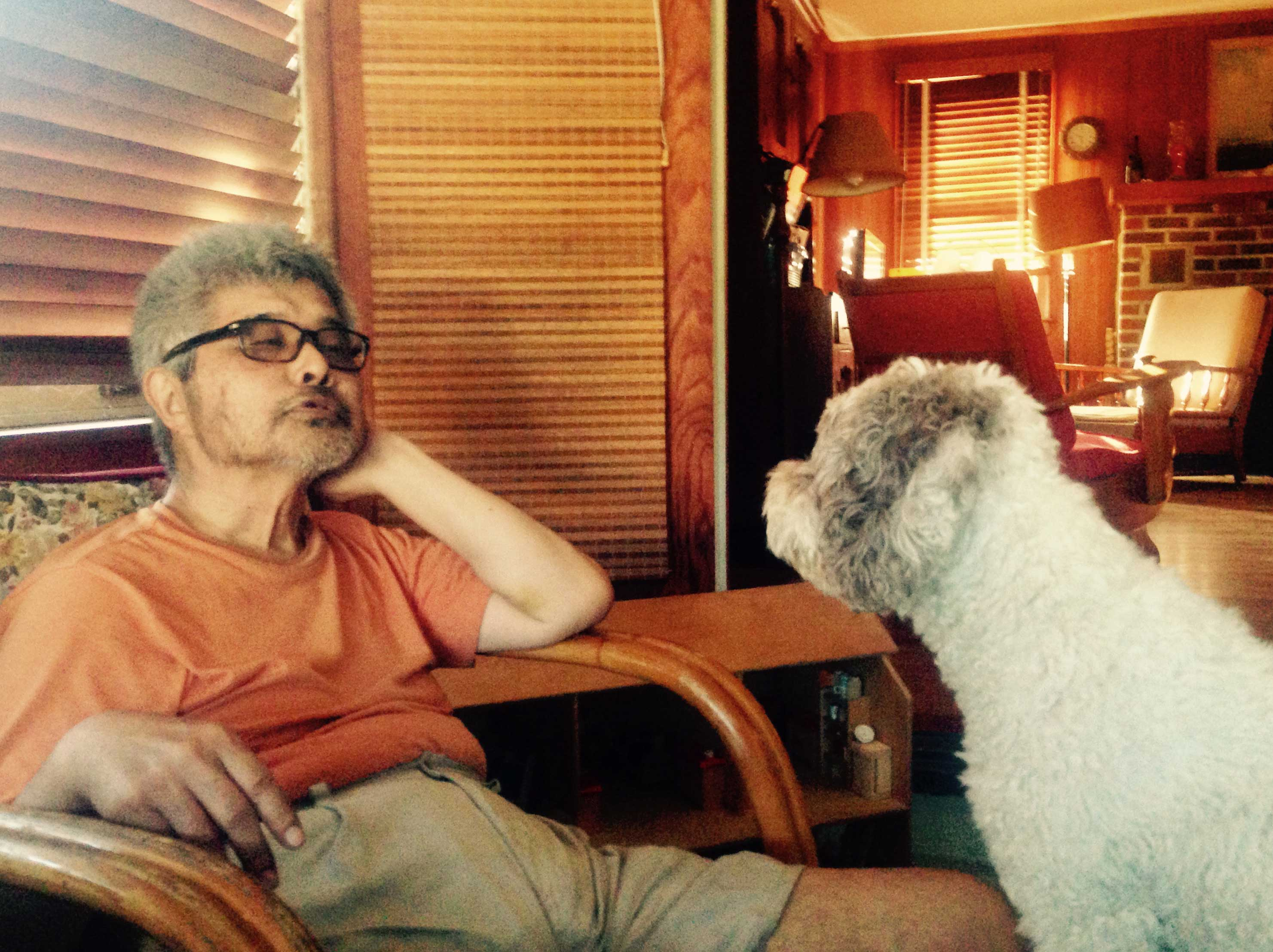 Susumu with his dog, Delice, at Long Beach Island