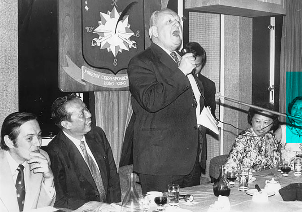 The send-off for Mr Liao in 1977, with from left, Club president Bert Okuley, Liao Chien-ping, Richard Hughes in full swing and Mrs Li