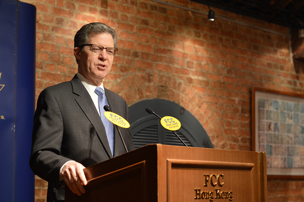 Sam Brownback, U.S. Ambassador at Large for International Religious Freedom speaking at the FCC on March 8, 2018. Photo: Sarah Graham/FCC