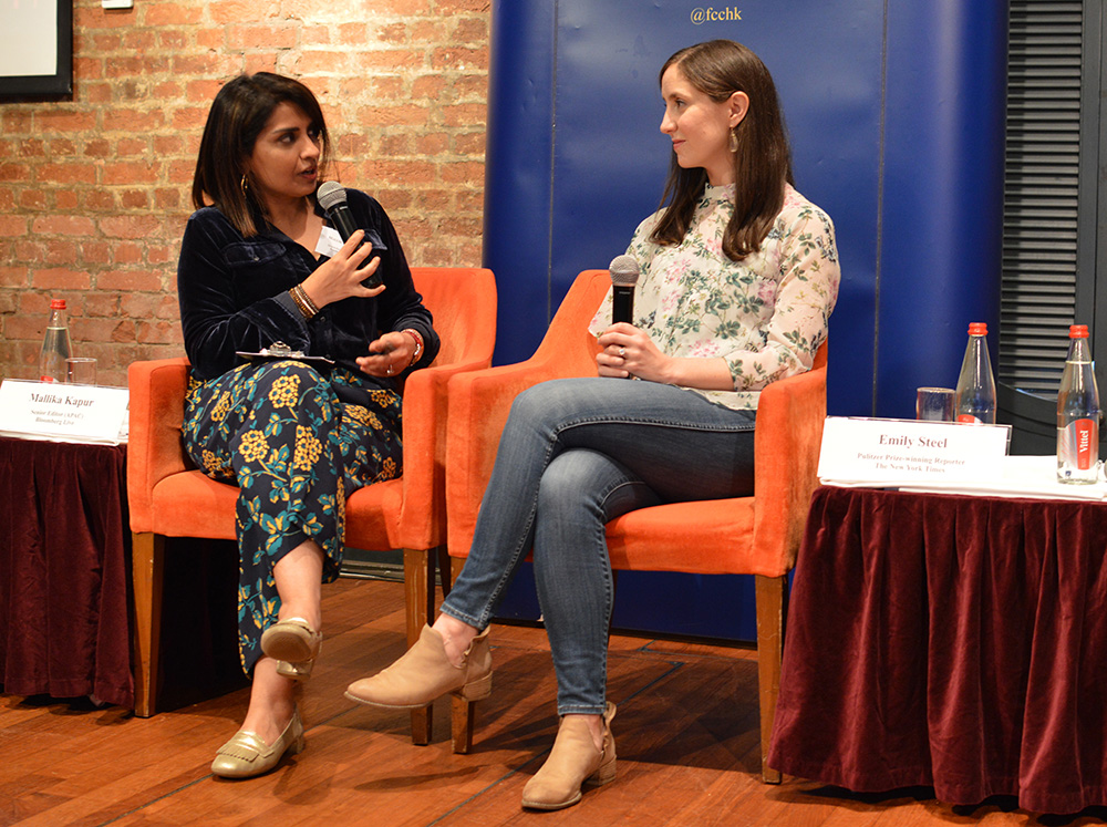 Mallika Kapur interviews Emily Steel. Photo: Sarah Graham/FCC