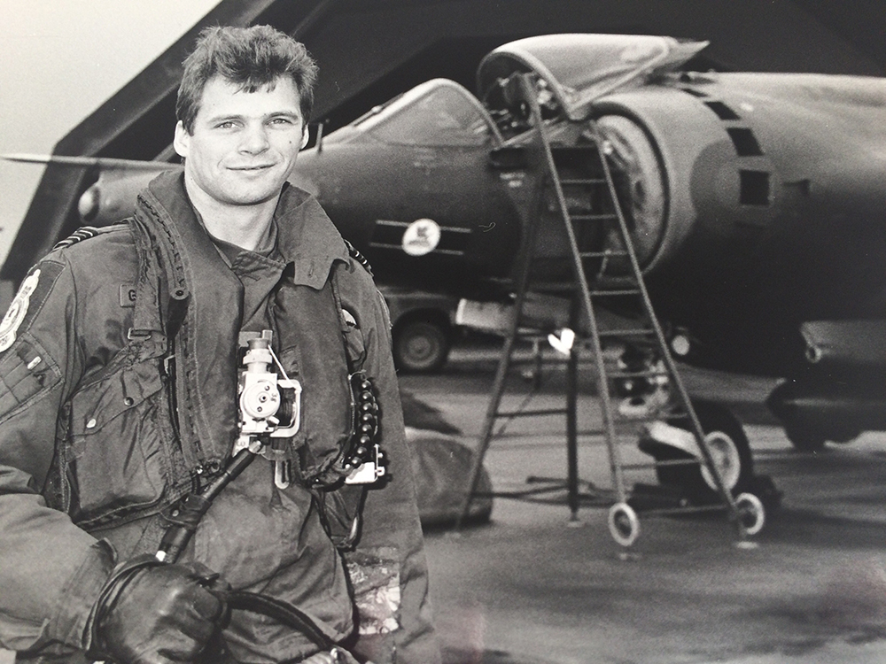 As a Flight Lieutenant with the RAF Harrier Group.