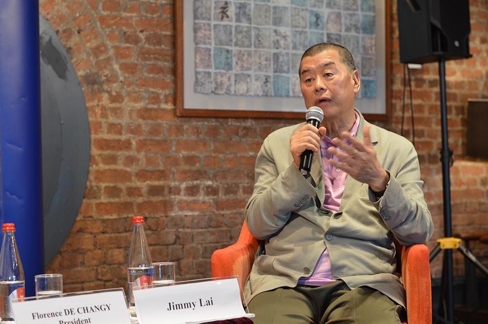 Jimmy Lai, founder and chairman of Hong Kong-listed Next Digital, at the May 20 club lunch. Photo: Sarah Graham/FCC