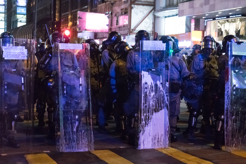 Hong Kong Police in Tsim Sha Tsui during protests on 11 August, 2019.