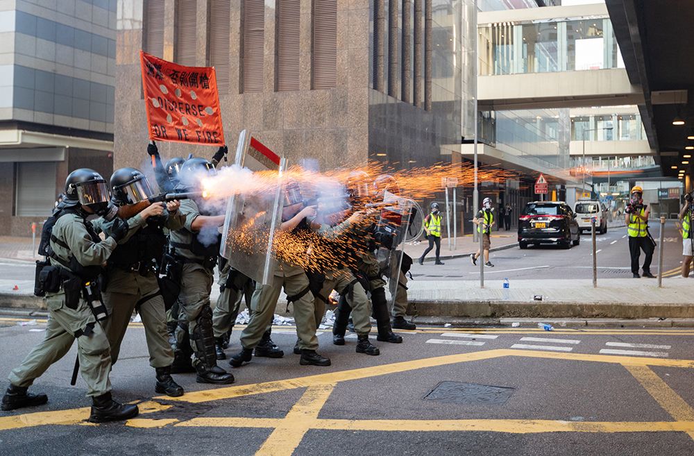 Police firing to the protesters during the crack down in admiralty on September 15, 2019. Photo: May James