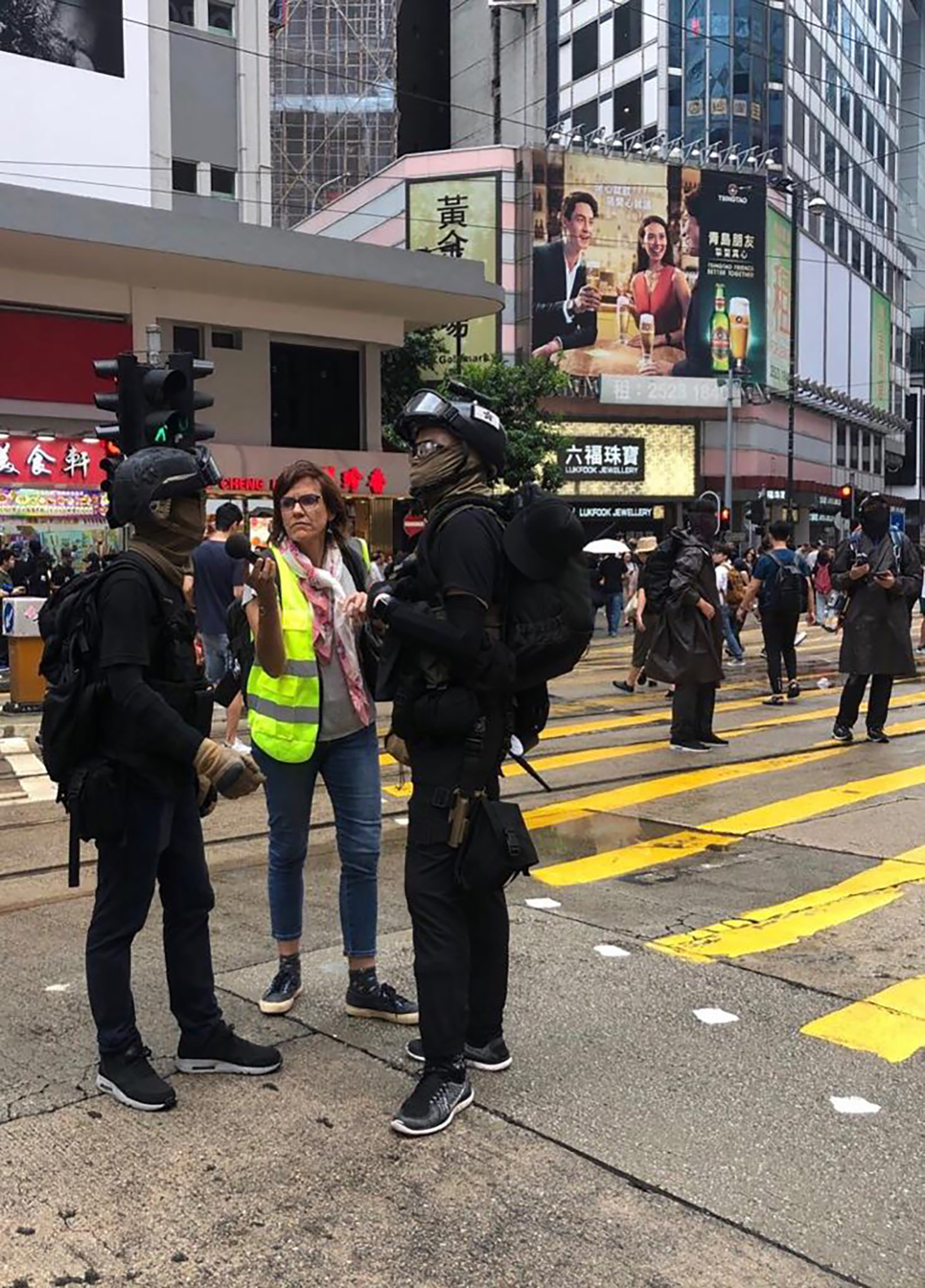 Florence de Changy interviewing frontline protesters in Causeway Bay