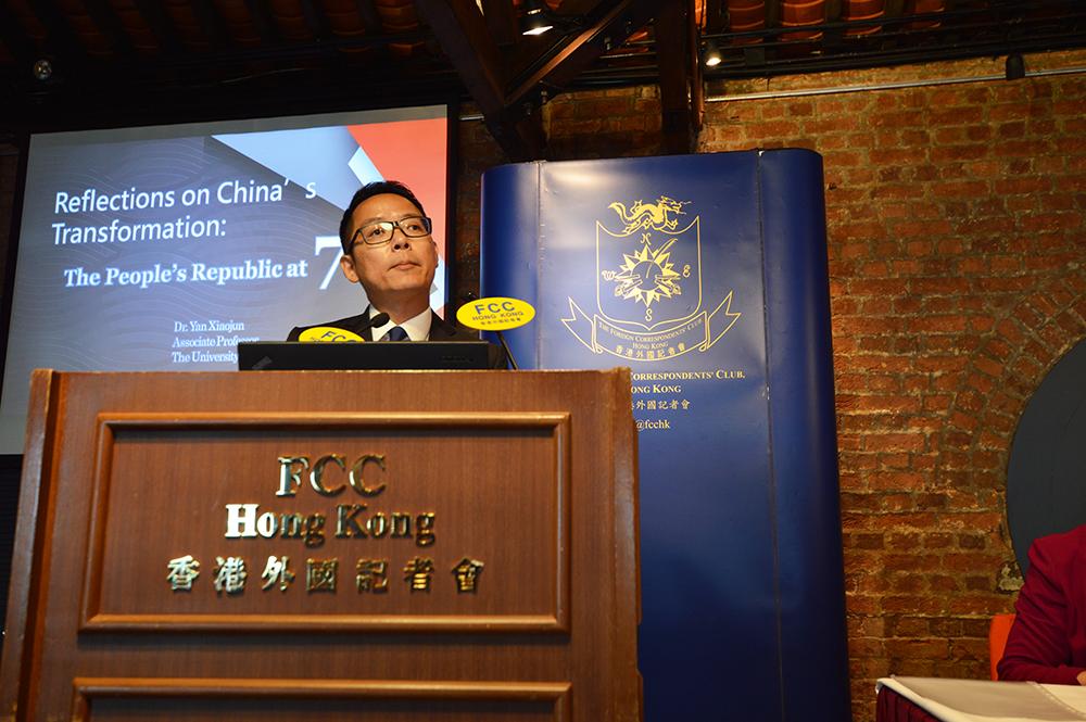 Professor Yan Xiaojun, Associate Professor in Politics and Public Administration, HKU. Photo: Sarah Graham/FCC