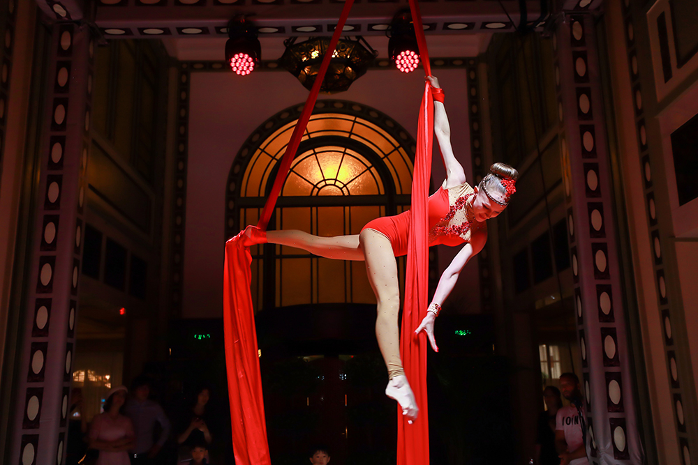 Ribbon dancer at 90th anniversary party