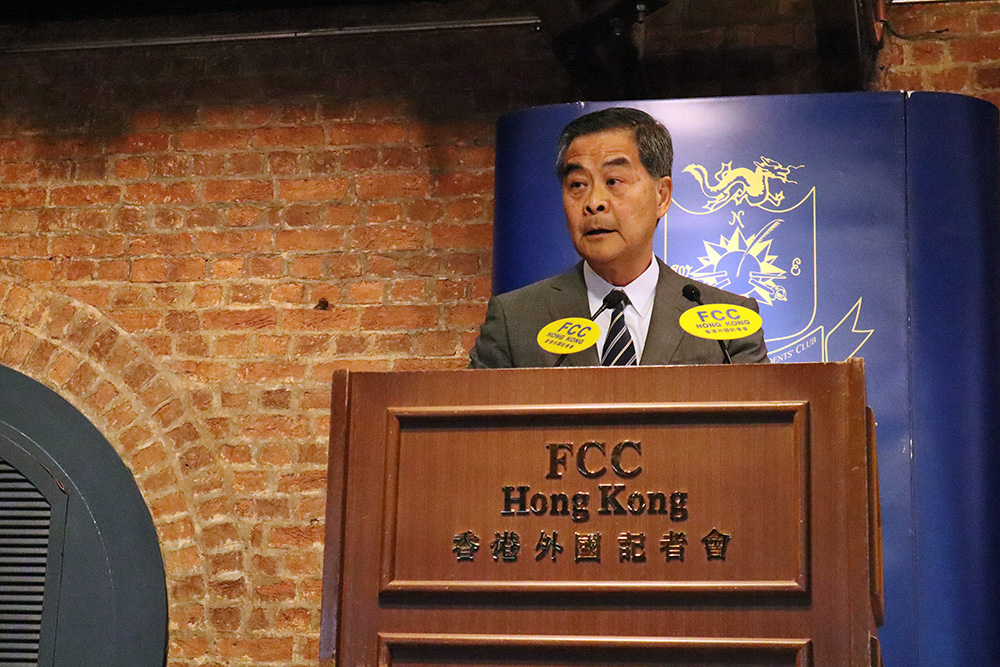 Former Hong Kong Chief Executive C.Y. Leung speaking at the FCC on November 28, 2019. Photo: FCC