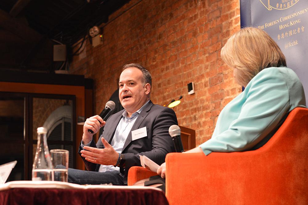Matt Murray in conversation with FCC President Jodi Schneider. Photo: Sarah Graham/FCC