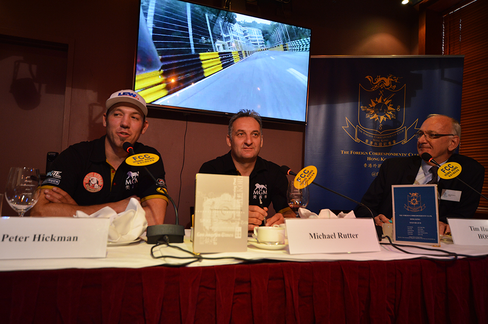 L-R: Peter Hickman, Michael Rutter, and moderator and FCC Second Vice President, Tim Huxley. Photo: Sarah Graham/FCC