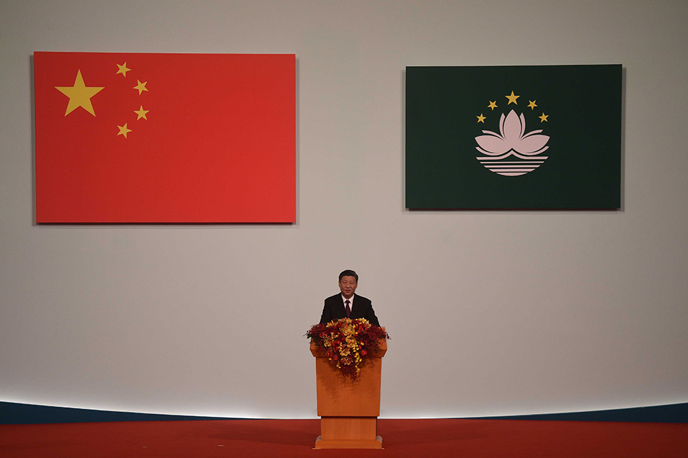China's President Xi Jinping speaks during his visit to Macau as part of its 20th anniversary handover celebrations