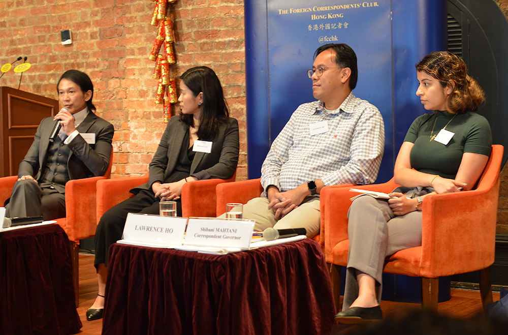 L-R: Clement Lai, Doriane Lau, Lawrence Ho, and moderator Shibani Mahtani. Photo: Sarah Graham/FCC