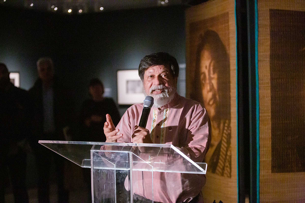 Shahidul Alam speaks at the opening of his show, Truth to Power, at the Rubin Museum of Art