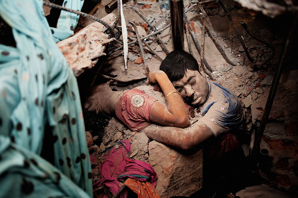 Famous image of the Rana Plaza garment factory collapse in Bangladesh by Alam's former student Taslima Akhter