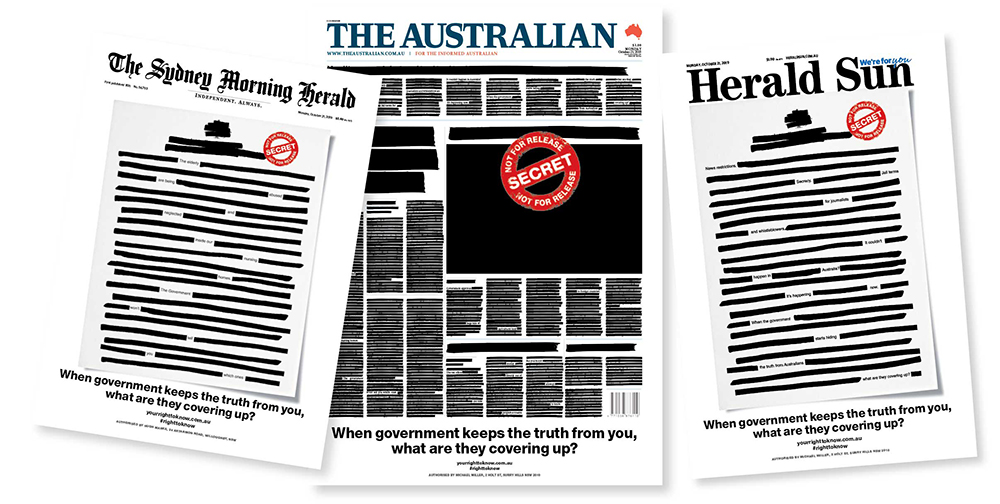 Front page of every newspaper across Australia was blacked out on October 21 as part of a protest against media restrictions