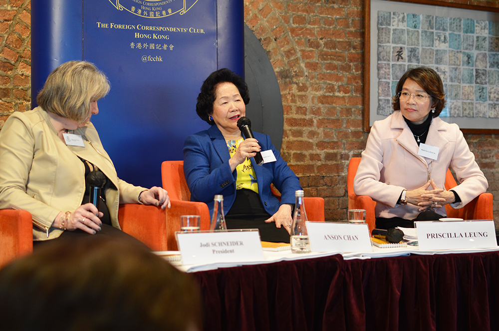 Anson Chan, centre, and Priscilla Leung, right. Photo: Sarah Graham/FCC