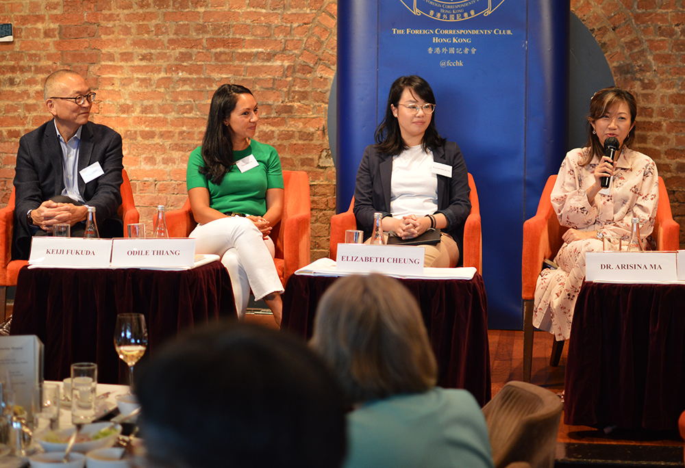 L-R: Professor Keiji Fukuda, Odile Thiang, Elizabeth Cheung, Dr. Arisina Ma. Photo: Sarah Graham/FCC