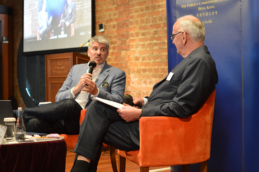Matthew Marsh, left, talked to Tim Huxley about his life as a Formula One pundit. Photo: Sarah Graham/FCC