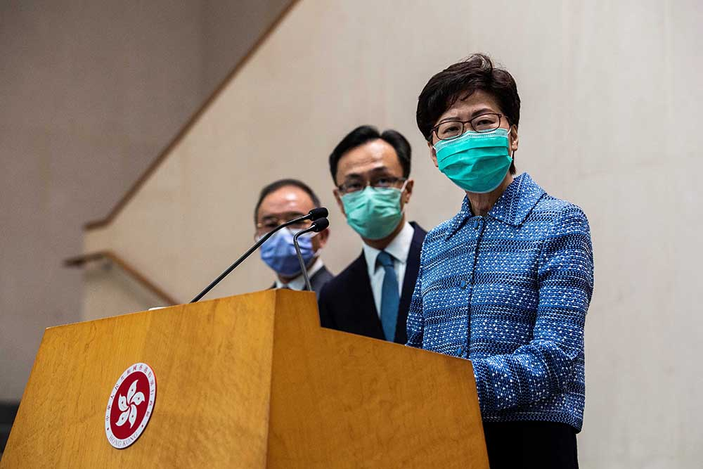 HK's Chief Executive Carrie Lam takes part in one of her daily press conferences