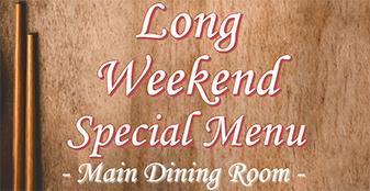 Long Weekend Special Set Menu