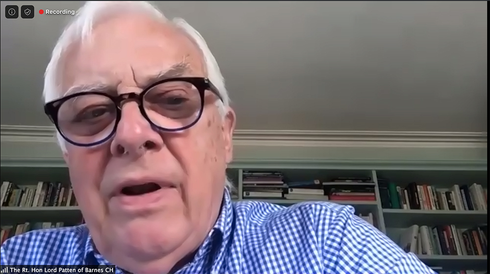 Chris Patten, the last governor of Hong Kong, talks during an FCC webinar on May 20, 2020.