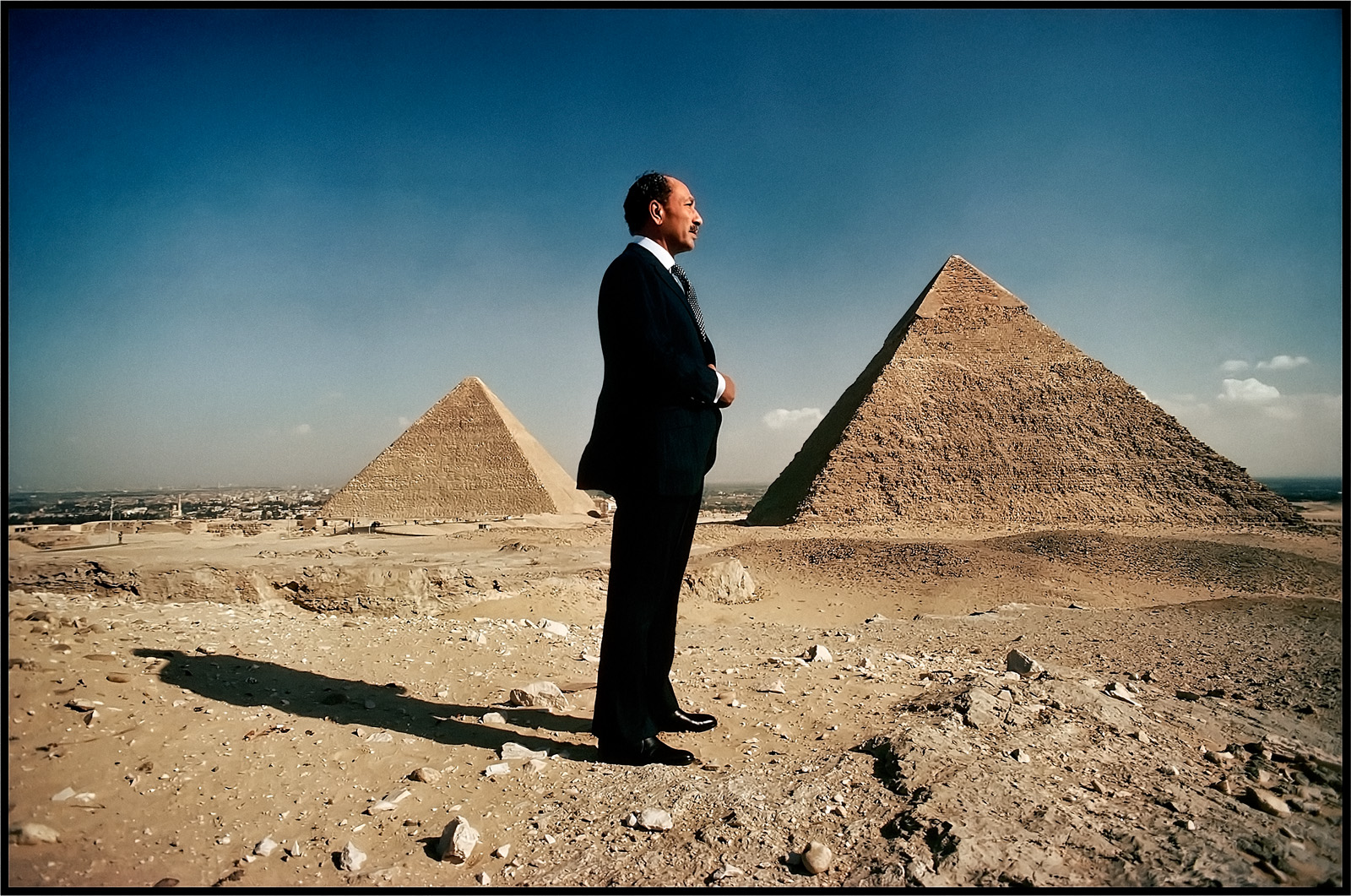 Egyptian President Anwar Sadat poses in front of the Pyramids of Giza in 1977 in Cairo for Time Magazine's Man of the Year issue. (Photo by David Hume Kennerly)