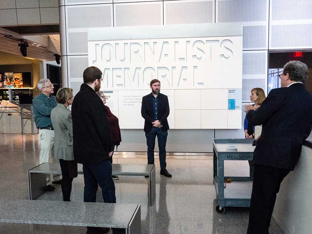 At the Journalists' Memorial in the Newseum on January 14 when the remains were disinterred. Russell Burrows is far right. Photograph: Thanks to Michael Putzel