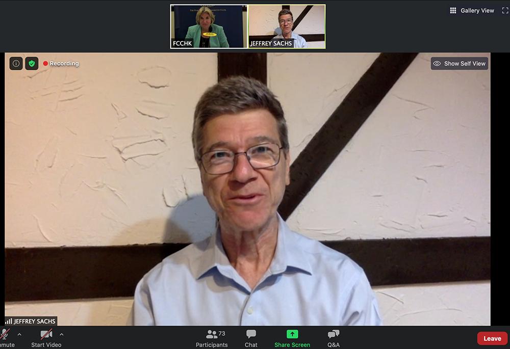 Professor Jeffrey Sachs is interviewed by Club President, Jodi Schneider.